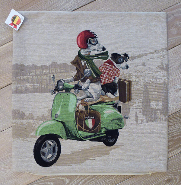 Coussin chiens scooter vert -- 45x45cm-10522