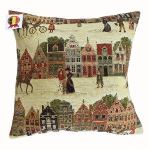 Coussin -- Bruges et ses caleches -- 35x35cm-0