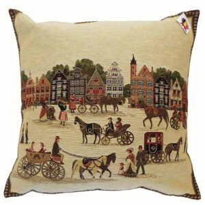 Coussin -- Caleches et Maisons de Bruges -- 45x45cm-0
